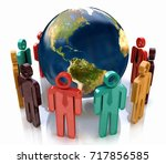 3d colorful people around the...   Shutterstock . vector #717856585
