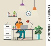 man vector character working in ... | Shutterstock .eps vector #717858361