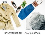 look female autumn clothes on...   Shutterstock . vector #717861931