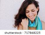portrait of smiling beautiful... | Shutterstock . vector #717868225