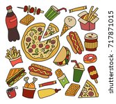 fast food. set of elements in... | Shutterstock .eps vector #717871015