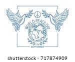 world peace day line logo... | Shutterstock .eps vector #717874909