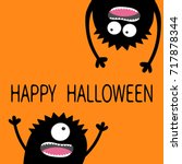 two black screaming monster... | Shutterstock . vector #717878344