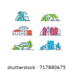 line and color house  buildings'... | Shutterstock .eps vector #717880675