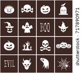 collection of halloween icons.... | Shutterstock .eps vector #717890971