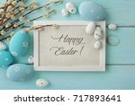 colorful easter eggs and spring ... | Shutterstock . vector #717893641