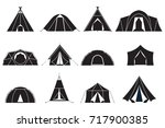 camping and hiking tent types... | Shutterstock .eps vector #717900385