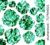 green flower seamless pattern... | Shutterstock . vector #717904021