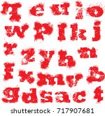 bloody fonts and numbers   Shutterstock .eps vector #717907681