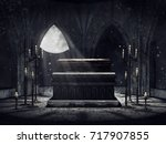 dark vampire crypt with candles ... | Shutterstock . vector #717907855