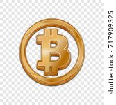 golden bitcoin symbol isolated... | Shutterstock .eps vector #717909325