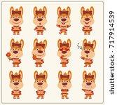 set of charming little rabbit...   Shutterstock .eps vector #717914539