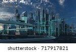futuristic skyscrapers in the... | Shutterstock . vector #717917821
