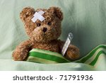 bear in bed with thermometer... | Shutterstock . vector #71791936
