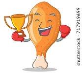 boxing winner fried chicken... | Shutterstock .eps vector #717919699