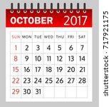 calendar of october 2017 on