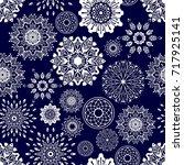 round flower zentangle boho... | Shutterstock .eps vector #717925141