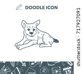 dog doodle | Shutterstock .eps vector #717927091