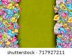 birds summer or spring concept. ... | Shutterstock .eps vector #717927211