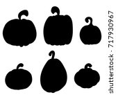 pumpkins collection  various... | Shutterstock .eps vector #717930967