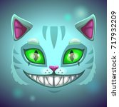 fantasy scary smiling cat face. ... | Shutterstock .eps vector #717932209
