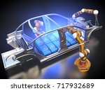 3d rendering  car frame and...   Shutterstock . vector #717932689