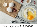 top view photo of a broken egg... | Shutterstock . vector #717934849