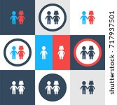 vector girl and boy icons | Shutterstock .eps vector #717937501