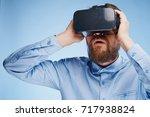 technology  3d glasses  man     ... | Shutterstock . vector #717938824