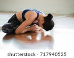 asian women stretching and... | Shutterstock . vector #717940525