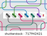 many tangled colored power... | Shutterstock .eps vector #717942421