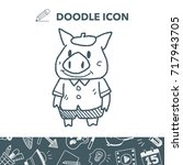 three little pigs doodle | Shutterstock .eps vector #717943705