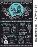 seafood menu for restaurant and ... | Shutterstock .eps vector #717949489