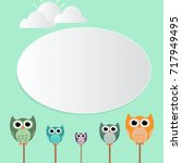 a frame of owl and a sheet of... | Shutterstock .eps vector #717949495
