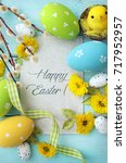 easter greeting card with... | Shutterstock . vector #717952957