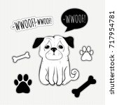 hand drawn pug.  cute dog  pet  ...   Shutterstock .eps vector #717954781