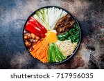 bibimbap  traditional korean... | Shutterstock . vector #717956035