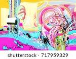original digital abstract... | Shutterstock . vector #717959329