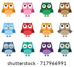 owls icons  bright owls with... | Shutterstock .eps vector #717966991