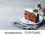christmas fruit cake  pudding...   Shutterstock . vector #717972091