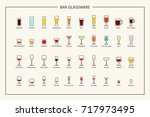 bar glassware guide  colored... | Shutterstock .eps vector #717973495