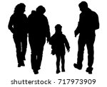 families with little child on... | Shutterstock .eps vector #717973909