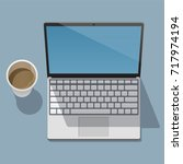 working laptop with an open... | Shutterstock .eps vector #717974194
