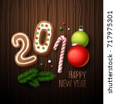 happy new year 2018 background. ... | Shutterstock .eps vector #717975301