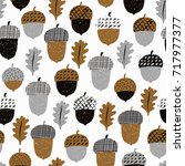 acorn seamless pattern with... | Shutterstock .eps vector #717977377