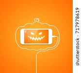 phone  wire  halloween  pumpkin ... | Shutterstock .eps vector #717978619