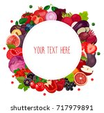 round label with fruits ... | Shutterstock .eps vector #717979891