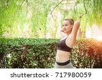 fitness sport girl in the... | Shutterstock . vector #717980059