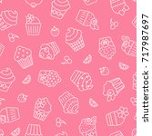 cupcakes seamless pattern.... | Shutterstock .eps vector #717987697