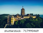 jiming temple sits atop a hill...   Shutterstock . vector #717990469